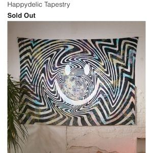 Urban Outfitters Trippy Tapestry w/Smiley Face
